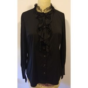 Ann Taylor Blouse W/ Ruffled Front & Lace Neck